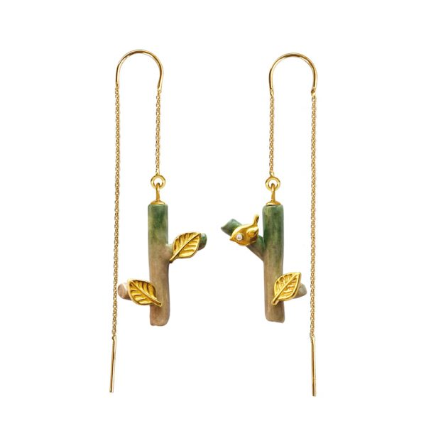 BIRDIE THREADER EARRINGS